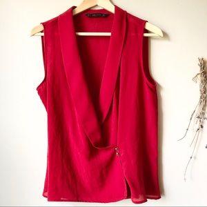 Zara Basic | Wrap Sleeveless Plunge-neck Blouse